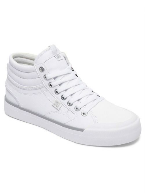 DC SHOES WOMENS HI TOP TRAINERS.NEW EVAN SMITH HI WHITE LEATHER SHOES 7W 147 WS4